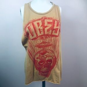 Obey szM mustard/red graphic muscle tank